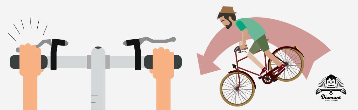 Vermeide zu starken Gebrauch der Vorderradbremse; das Hinterrad könnte den Bodenkontakt verlieren und dazu führen, dass Du die Kontrolle verlierst - Diamantrad-Blog.