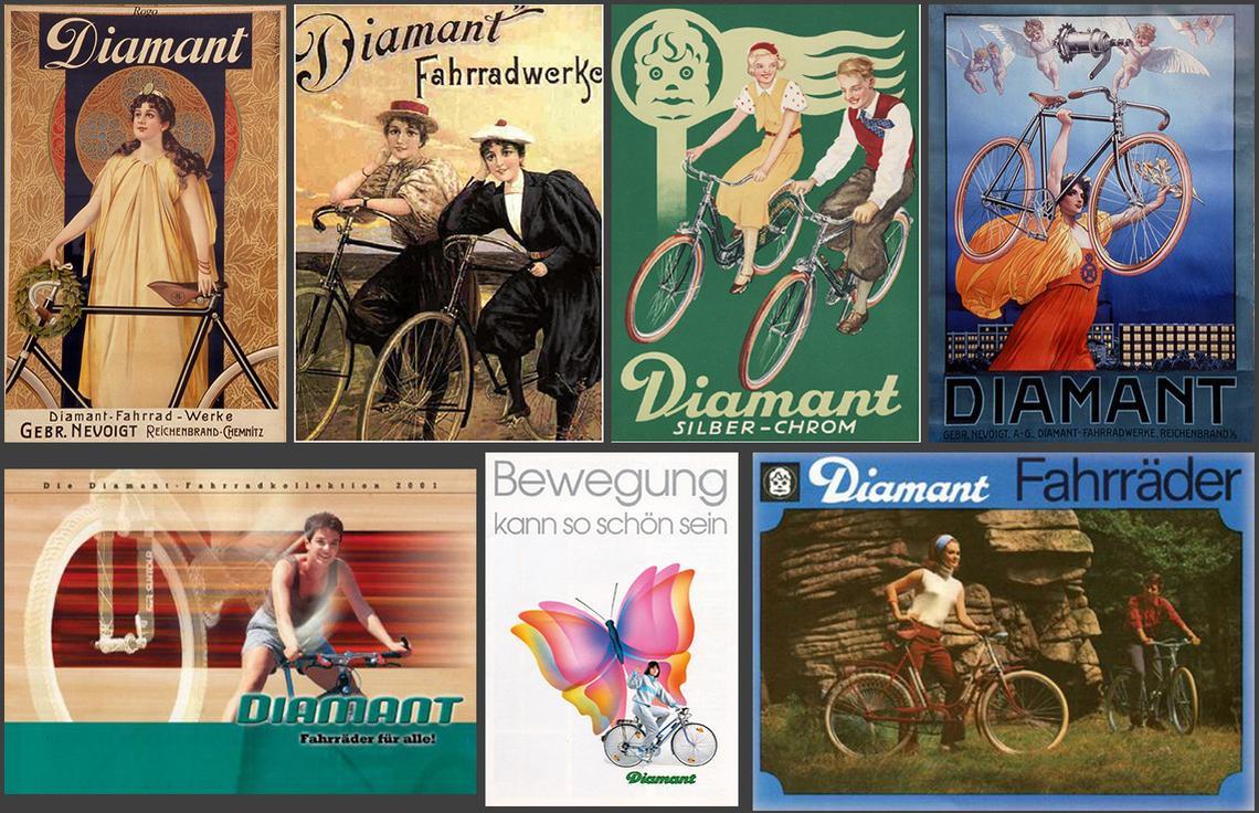 Radelnde Frauen auf historischen Plakaten, Anzeigen und Schildern im Laufe der Zeit - Diamantrad-Blog