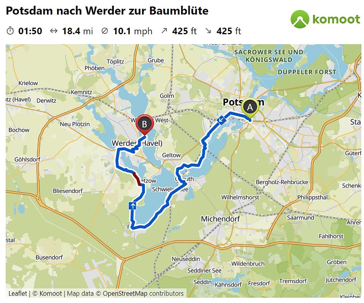 Diamant auf Reise: Fahrradtour Potsdam Werder Komoot Tour Diamantrad Blog